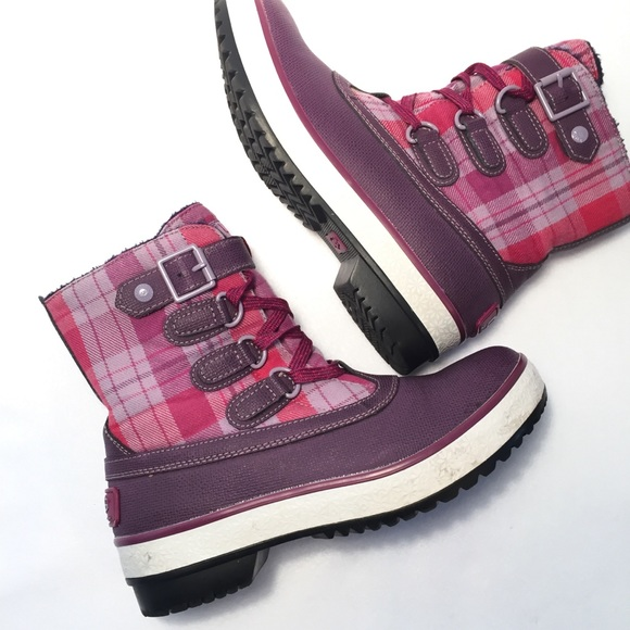 97cc337e8d6 UGG Decatur Girls Snow Boots Pink Purple Plaid